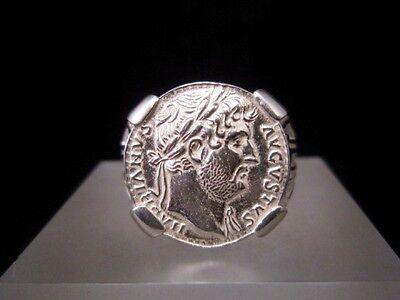 Amazing Roman Style Sterling Silver Ring, Hadrian Denarius!!! 10