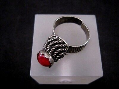 Magnificent Vintage Large Silver Filigree Ring, Red Stone!!! 5