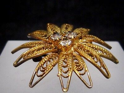 LOVELY VINTAGE, TOP DECORATED GILT SILVER FILIGREE BROOCH w/ STONES