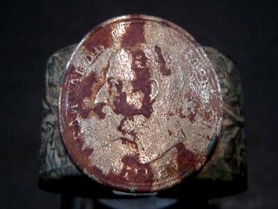 AMAZING OLD ANTIQUE WWI  BRONZE RING w/ SILVER COIN ON TOP!!!