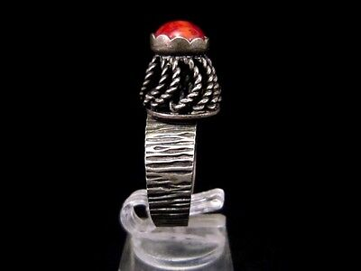 Magnificent Vintage Large Silver Filigree Ring, Red Stone!!! 4