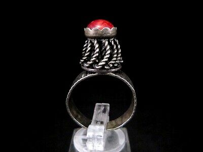 Magnificent Vintage Large Silver Filigree Ring, Red Stone!!! 3