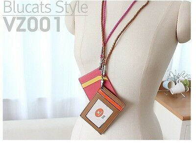 3 of 7 Genuine leather ID Card Holder Lanyard Wallet Necklace Strap Badge Holders Gift