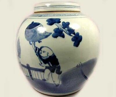 """Exceptional 19thC Blue and White """"Ming"""" Official Rides Foo Dog Jar+Lid China 3"""