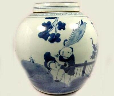 "Exceptional 19thC Blue and White ""Ming"" Official Rides Foo Dog Jar + Lid China"