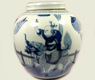 """Exceptional 19thC Blue and White """"Ming"""" Official Rides Foo Dog Jar+Lid China 2"""