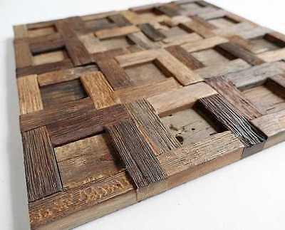 Wood Wall Tile, Wood Wall Decor, Mosaic Tiles, Rustic Tiles, Reclaimed Wood Tile 2