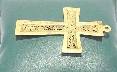 OUTSTANDING VINTAGE BRASS CROSS,ENGRAVING,EARLY 20th. Century !!! # 625 5