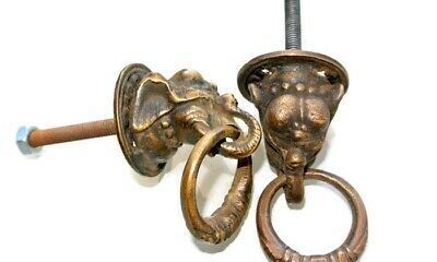 4 small ELEPHANT handle KNOB aged old solid Brass PULL ring knob kitchen 3.6cm B 2