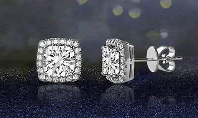 14K White Gold Plated Princess Round Crystal Halo Square Stud Earrings 3.44 CT 3
