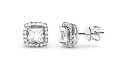 14K White Gold Plated Princess Round Crystal Halo Square Stud Earrings 3.44 CT 2