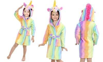 UK FREE DELIVERY Unicorn Bathrobe Dressing Gown Pyjamas PJs Soft Kids Girls Boys 2