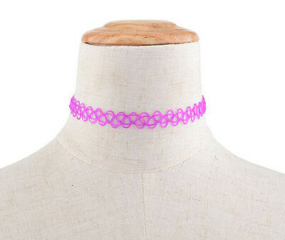 Hippy 90s Stretch Tattoo Elastic Boho Choker Necklace Bracelet Cord Retro Gothic 6