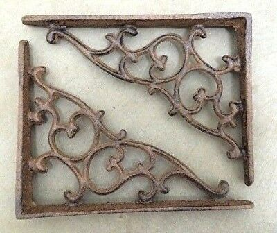 SET OF 4 ORNAMENTAL SHELF BRACKET BRACE Vintage Rustic Antique Brown Cast Iron 8