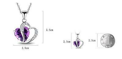 Fashion Women Heart Crystal Rhinestone Silver Chain Pendant Necklace Jewelry Hot 2