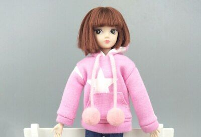 """Pink Star Sweatshirt Coat For 11.5"""" 1/6 Doll Clothes Outfits Pants Canvas Shoes 9"""