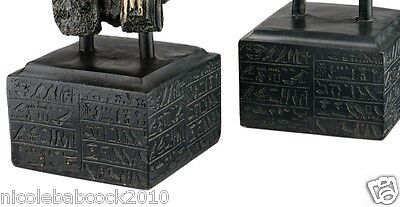 Set of 2: Ancient Egyptian God Anubis & Horus Hieroglyph SCULPTURAL MUSEUM BASE 3