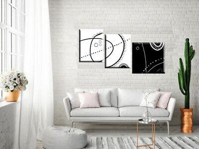 QUADRI MODERNI ASTRATTI Dipinti A Mano Bianco E Nero Trittici Arredo Casa