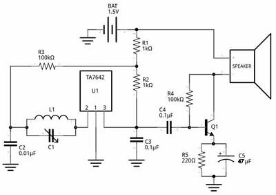 Radio Receiver Chip on crystal radio schematic, transistor radio schematic, am radio circuit schematic,