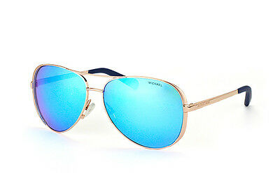 NWT Michael Kors Sunglasses MK 5004 100325 Rose Gold / Mirrored Blue 59 mm NIB