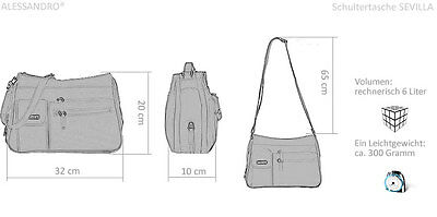 4d956c2a9ca46 ... Handtasche ALESSANDRO SEVILLA Schultertasche Microfaser Tasche Bag  SCHWARZ +Etui 10