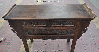 "44"" old chinese Antique Furniture Hand-carved huanghuali wood flower Tables Desk 10"
