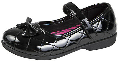 Girls Black School Shoes Faux Leather Mary Jane Strap Party Shoes Pumps Size 2