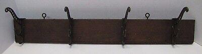 Antique Victorian Cast Iron Four Hanger Rack Wood Mount triple hook 19c architec 2 • CAD $501.75