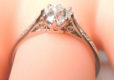 Antique Art Deco Vintage Diamond Engagement Ring Platinum EGL USA Ring Size 6.25 7