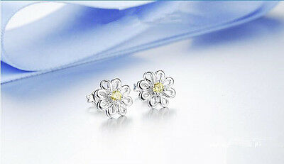 Shiny 925 Sterling Silver PLT Cute Small Daisy Flower Yellow CZ Stud Earrings UK 3