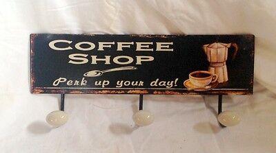 Wand Garderobe Coffee Shop 3 Haken Türgarderoben & Haken Vintage Geschenk Cafe 3