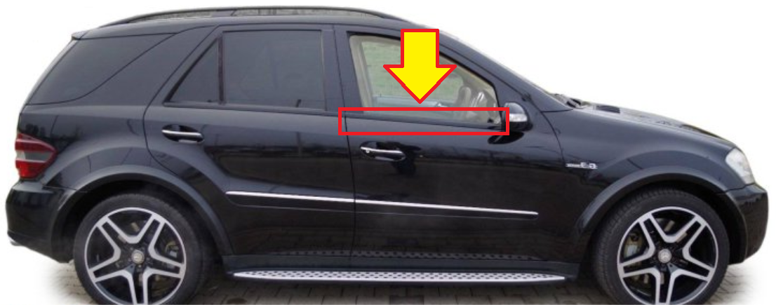 New Genuine Mercedes Mb Ml W164 Front Door Lower Window Trim Black Right O S