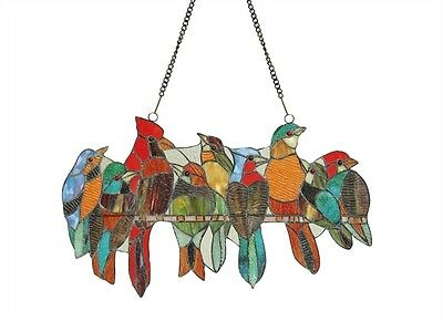 """Birds On A Wire Stained Glass Window Panel Suncatcher 21.5"""" Long x 13"""" High 2"""