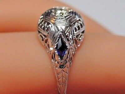Antique Art Deco Diamond Engagement 20K White Gold Ring Size 5.75 UK-L EGL USA 9