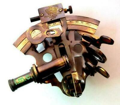 Beautiful 1917 Kelvin & Hughes  Navigation instrument Sextant Brass W/leather 2