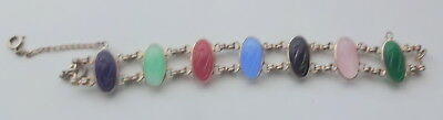 Antique Egyptian Revival Hand Carved Natural Stone Scarabs Double Row Bracelet 6