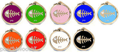 Pet Cat Identity Tag Quality FISH Design ID Tag, FREE DELIVERY, Engraving Option 2