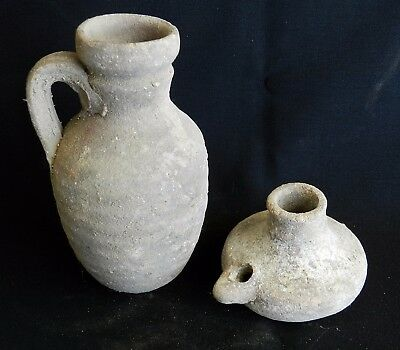 Biblical Ancient Holy Land Roman Clay Pottery Pitcher Jug & Oil Lamp Terracotta 3