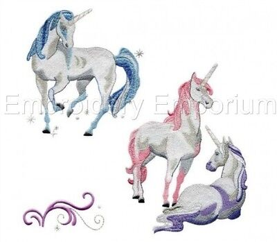 MACHINE EMBROIDERY DESIGNS ON CD OR USB RAINBOW UNICORNS COLLECTION