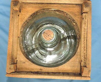 Primitive Antique Higham Rocker Lid Wood Box W/Antique Glass Bottle 7