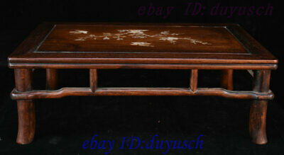 "21"" Chinese Huanghuali Wood Inlay shell Bird flowers Furniture table Desk Tables 7"