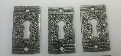 Set of12 matching antique Victorian  keyhole cover escutcheon 2