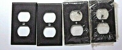Lot 4 Brown Steel Paintable Duplex Wall Outlet Cover Plates Vintage 2