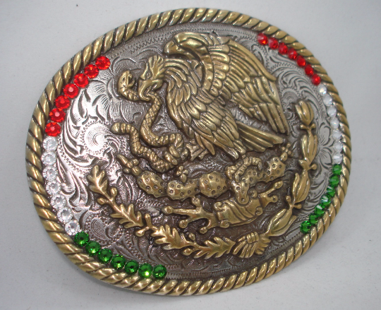 Mexico Coat of Arms Flag Western Rodeo Cowboy Mexican Vintage style belt buckle 6