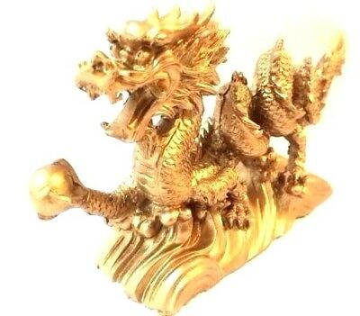 "NEW Chinese Feng Shui Dragon Figurine Statue for Luck & Success 6"" LONG GOLD 2"