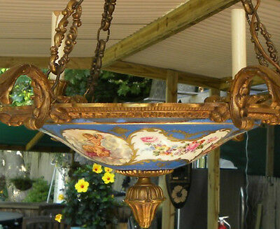 BEST Vintage SEVRES Chandelier~FRENCH FLORAL/CUPID Hand Painted COLLECTIBLE