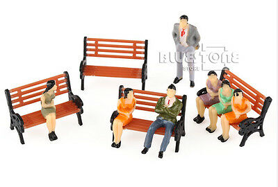 100 Seated Standing Model People Passanger Figures+5 Bench Train Railway Layout 4