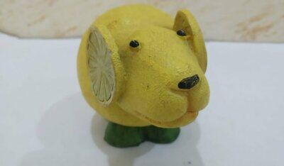 Vintage Wood Statue Figurine Mouse Wooden Yellow Hand Carved Lemon Art Paint 10