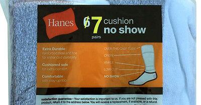 Hanes 7 paris Men's NOSHOW white socks fit shoe size 6-12 DOUBLE CUSHION BOTTOM 3