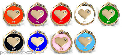 Poochiwoochi Pet Dog & Cat ID Tag HEART Design Engraving Option FREE UK Delivery